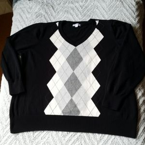 Cotton blend argyle sweater
